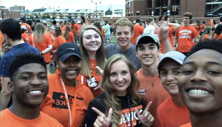 students at OSU football game